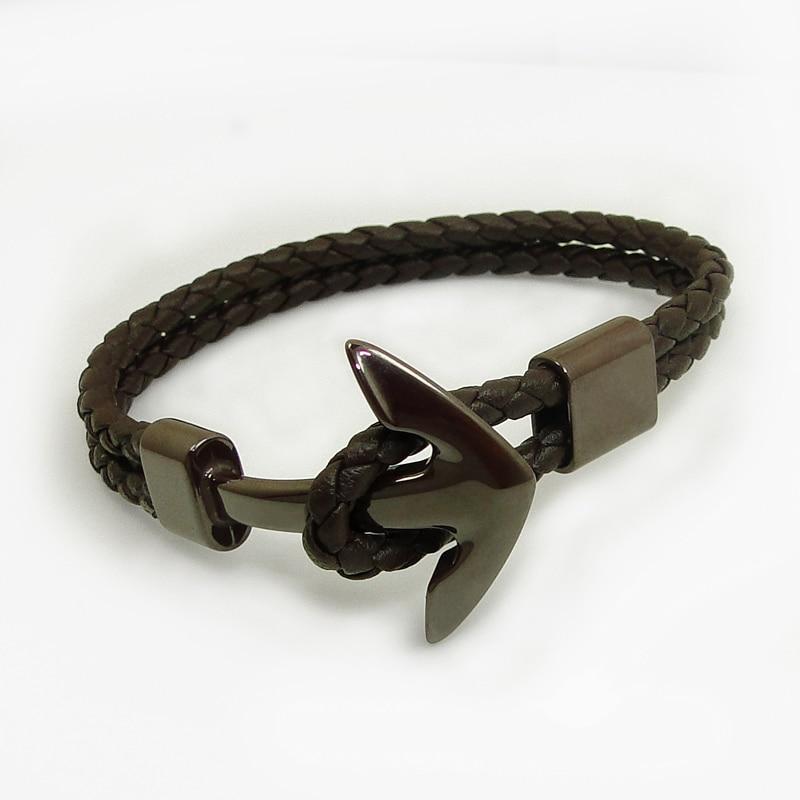 DICAYLUN Ceramic Bracelet Anchor Black Jewelry Leather Bracelet Men Women White Brown Woven Rope Ceramic Jewellery New Male Wrap