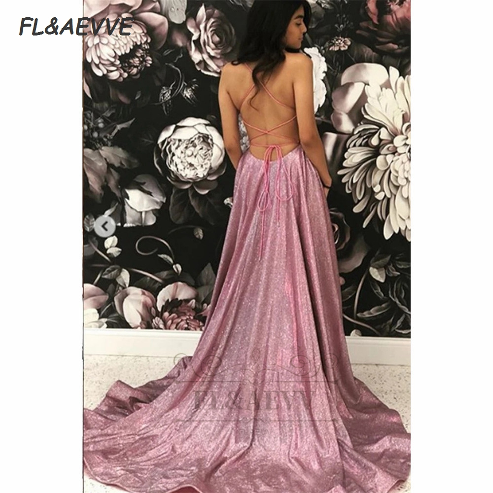 2021 Sequins Evening Dress Long Spaghetti Straps V Neck Corset Backless Floor Length Evening Prom Party Dresses