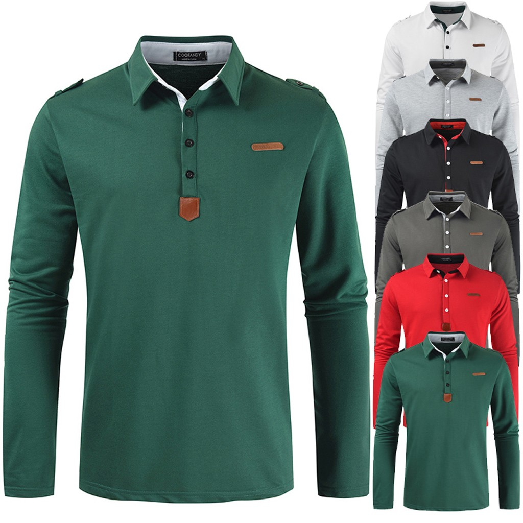 New Brand Men's Solid Long Sleeve Polo Shirt Men Autumn Full Sleeve Warm Shirts Casual Pocket Tops Plus Size Turn-down Collar