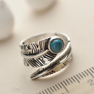 Image 4 - Real 925 Sterling Silver Rings For Men And Women Vintage Feather Ring With Natural Stone Jewelry Adjustable Opening Type