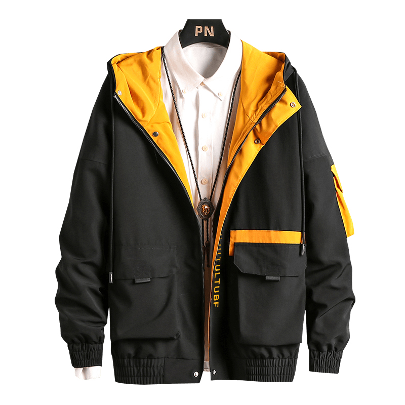 <font><b>Men</b></font> Cargo <font><b>Bomber</b></font> <font><b>Jackets</b></font> Designer <font><b>Japanese</b></font> Steetwear Autumn Big Pockets Harajuku Hip Hop Windbreaker Coats Korean Fashion,GA401 image