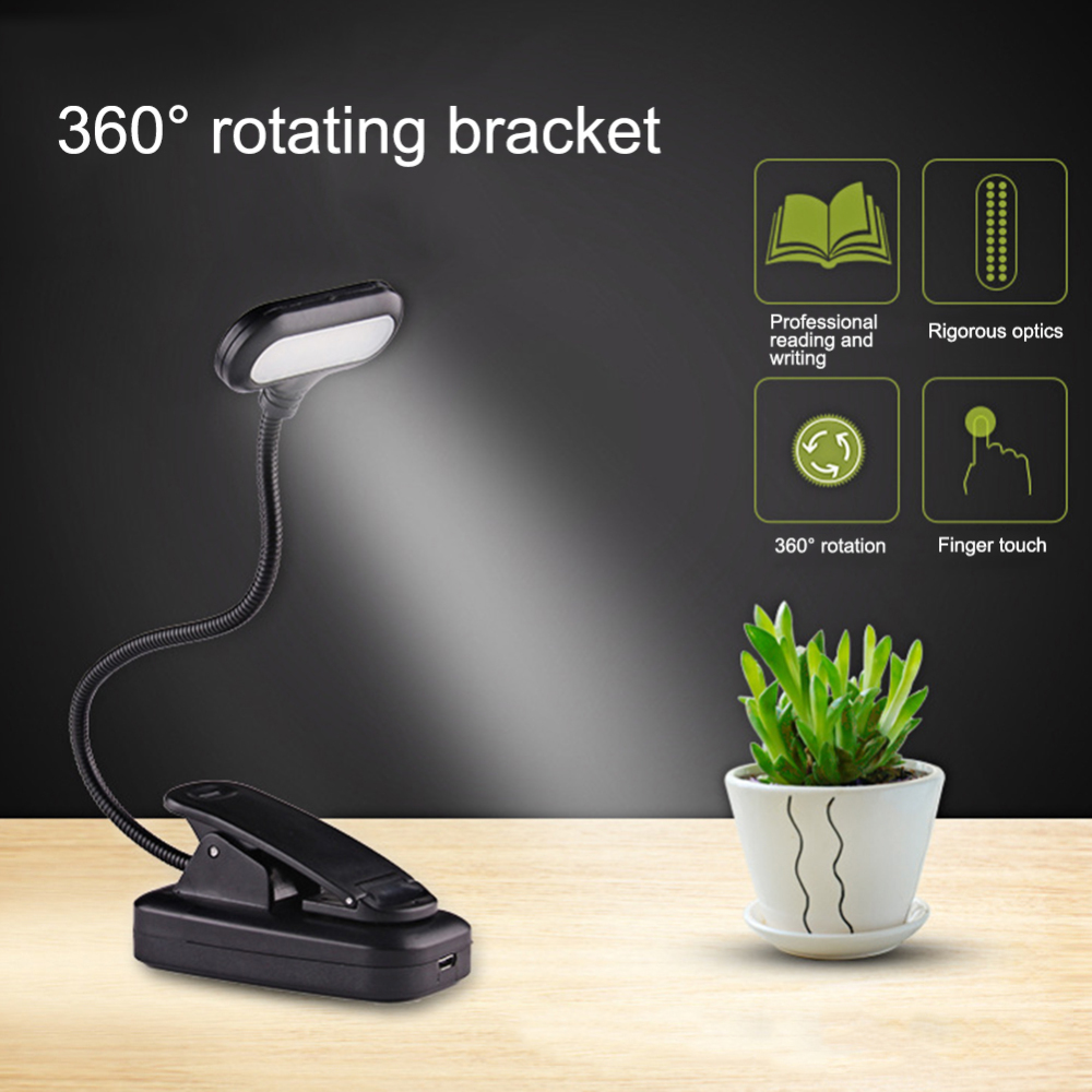 Brack Book Light Clip On Reading Light Eye Protection Soft LLight Adjustable Color Temperature Gooseneck Bedside Light For Study