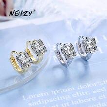 Nehzy 925 prata esterlina nova mulher moda jóias de alta qualidade simples cristal zircão brincos de prata ouro