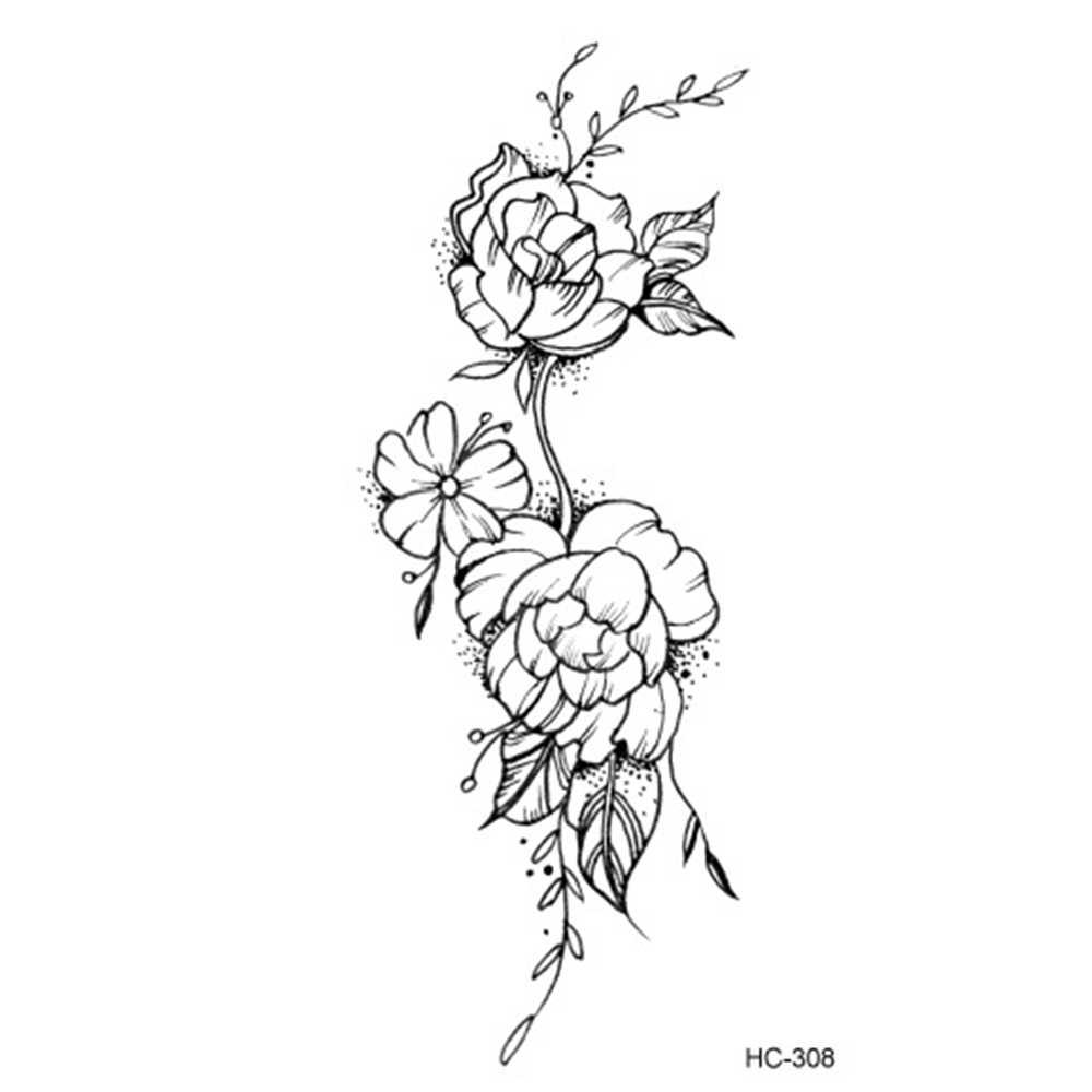Hot 1pc Popular Ballet Preto Branco Flores Tatuagens Etiqueta Desenho Temporária Body Art Transferência De água Falso