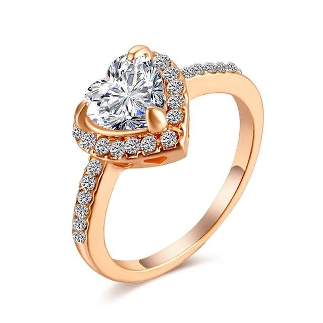 Fashion Heart Shaped Crystal Wedding Ring
