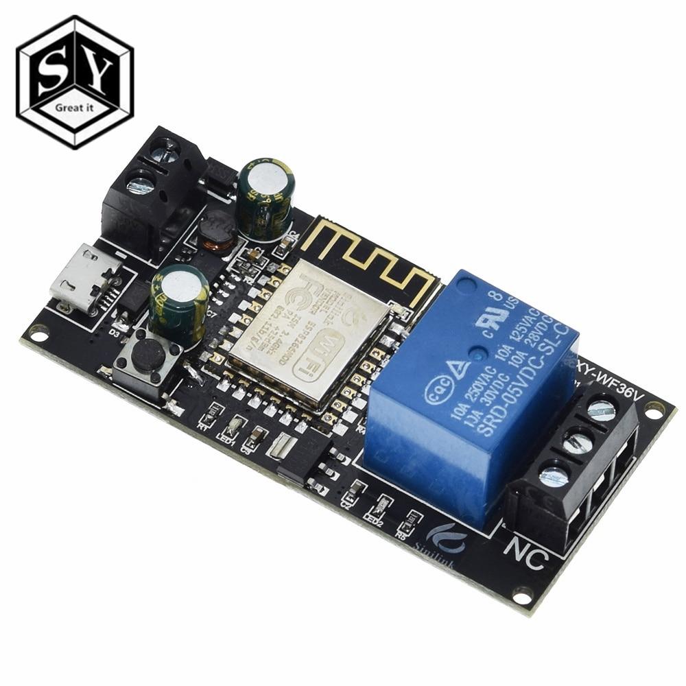Здорово Sinilink WI-FI мобильный телефон дистанционный пульт триггерный релейный модуль DC6V ~ 36V умный дом с помощью приложения на телефоне ESP-12F ...