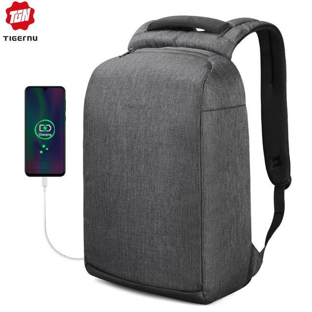 "Tigernu חדש מזדמן באיכות גבוהה עמיד למים גברים תרמיל 15.6 ""מחשב נייד אנטי גניבה עם USB זכר מוצ ילאס אופנה תרמילי בית ספר"