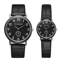 Woman Mens Retro Design Leather Band Analog Quartz Wrist Lovers Watch