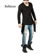 The new 2019 European and American fashion irregular dovetail oblique tide male Slim word collar round neck long-sleeved T-shirt недорого
