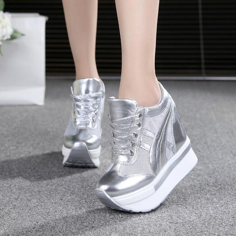 NEW Classic Women Mesh Platform Sneakers Trainers White Shoes 10CM High Heels Wedges Outdoor Shoes Breathable Casual Shoes Woman