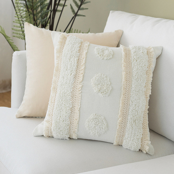 Cotton Woven cushion cover Ivory Tassels pillow cover Moroccan Style Handmade  for Home decoration Sofa Bed 45x45cm/30x50cm beige plaid cushion cover vintage colored dots moroccan style pillow cover 45x45cm home decoration zip open