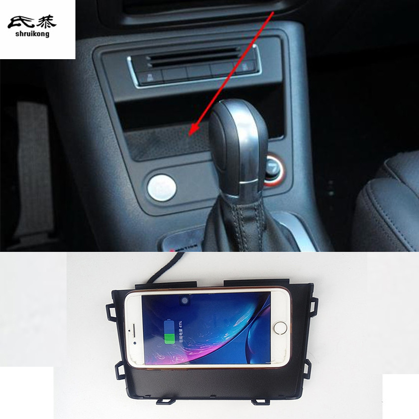 10W QI Wireless Charging Phone Charger Fast Charging Plate Panel Phone Holder For 2010-2015 Volkswagen VW Tiguan MK1