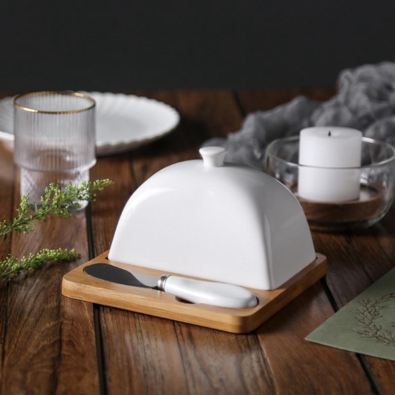 cerâmica com faca & alça porcelana queijo