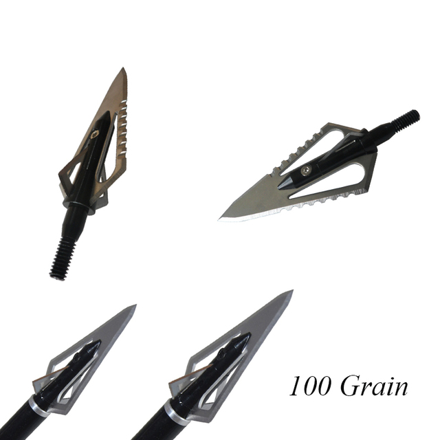 12PCs Hunting Stinger Broadheads 4 Blade 100Grains 2 Sawtooth Blade for Crossbow Hunting Accessories Arrow Head 6