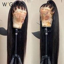 Wigirl 28 30 polegada frente do laço perucas de cabelo humano pré arrancado brasileiro 13x4 em linha reta remy peruca frontal do laço para preto