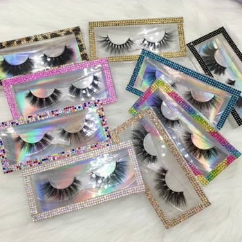 3D Mink Eyelashes 6pairs/lot Mixed Styles 18-22mm Natural Lashes with Rhinestone Lash Packaging фото