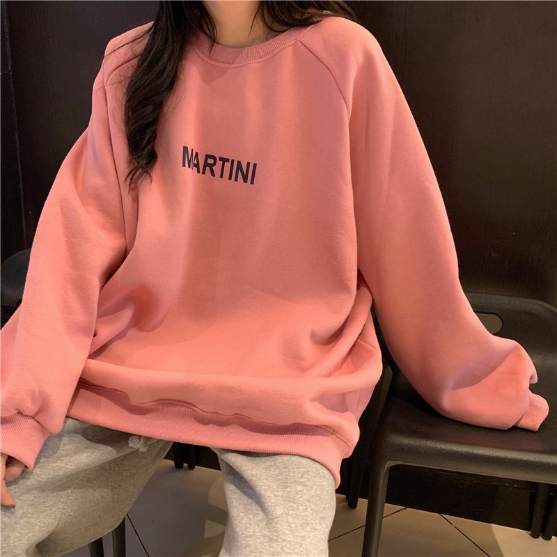 Hoodies Women Chic Letter High Street All match Simple Unisex Couples Oversized Sweatshirt Thicker Soft Fall Basic Lady Clothing