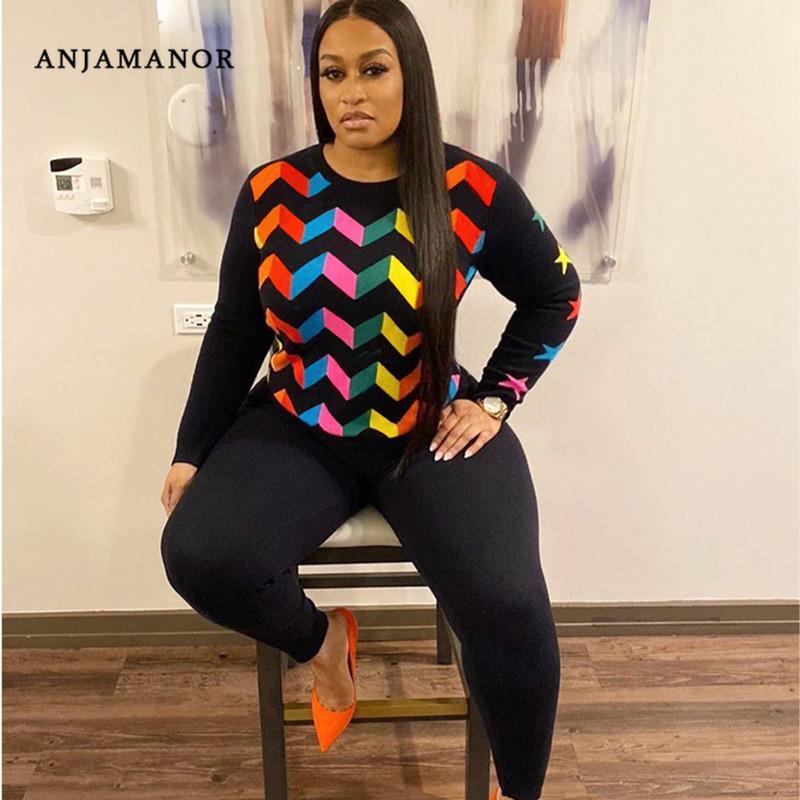 ANJAMANOR Geometric Star Print Cute Two Piece Set Top And Pants Tracksuit Women Clothes Matching Sets Winter Outfits D74-AF60