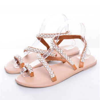 Summer Flat Sandals Sweet Boho Pearl Decoration Sandals Leather Flats Plus Size Women Beach Sand Holiday Shoes 4