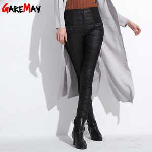 Image 3 - Winter Women Down Pants Plus Size Velvet Trousers Thickening Slim Thermal Female Warm Trousers Legging High Waist Pants