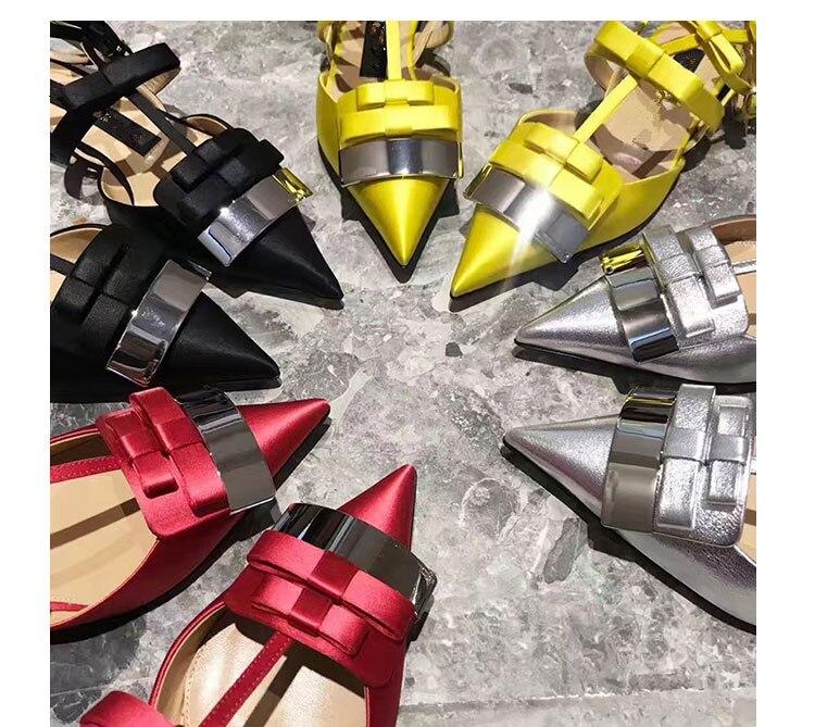 2019 Satijn Vrouwen Schoenen Puntschoen Vrouwen Flats Silver Metal Decor Vrouw Gladiator Kleur Jurk Bruiloft Zapatos Mujer Hot Muilezels - 5