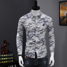 Fashion Camouflage Men Shirt Casual Camisa Social