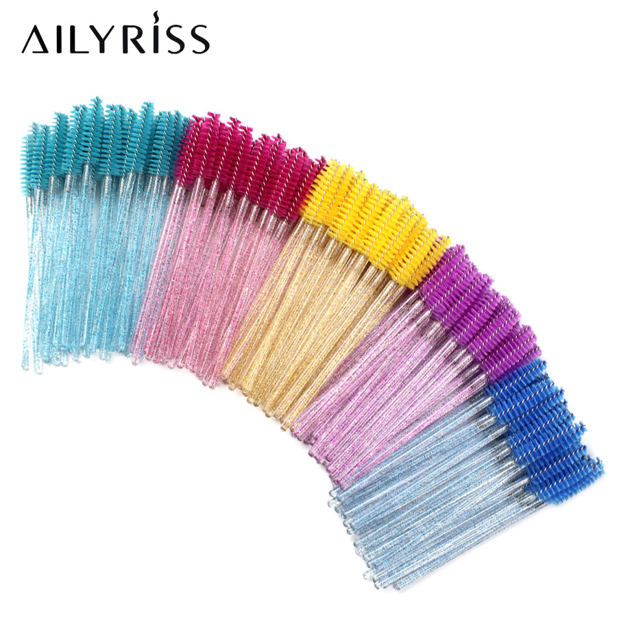 50 PCS Disposable Crystal Eyelashes Brushes Mascara Wands For Grafting Eyelash Curling Comb Lash Extension Makeup Supplies