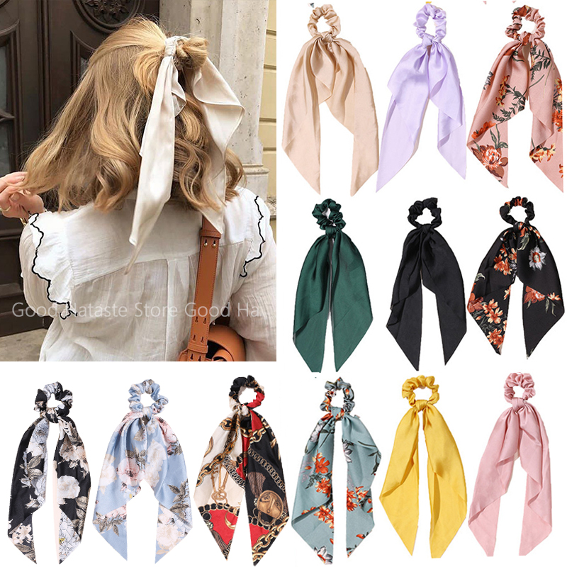 1PC New Women Scrunchie Ribbon Elastic Hair Bands Bow Scarf Printing Head Band for Girls Ladies Hair Ropes Ties Hair Accessories
