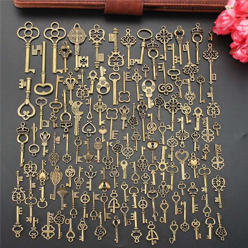 125Pcs Vintage Antique Bronze Plated Metal Love Heart Key Charms Pendant DIY Jewelry Making Findings Accessories Craft