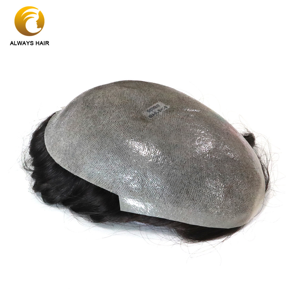 Hs Skin 0.08-0.1mm Thin Polyskin All Over Man Toupee 6