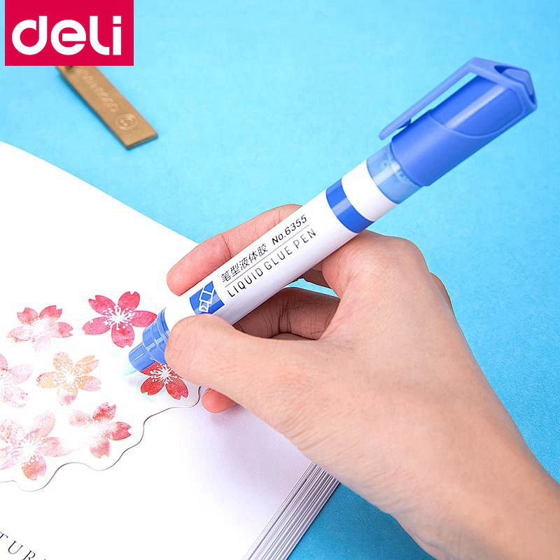 1PCS Deli 6355 Pen Shaped Water Glue 10ml Liquid Glue Pen Easy To Carry Office Home School Student Water Glue Pen Wholesale