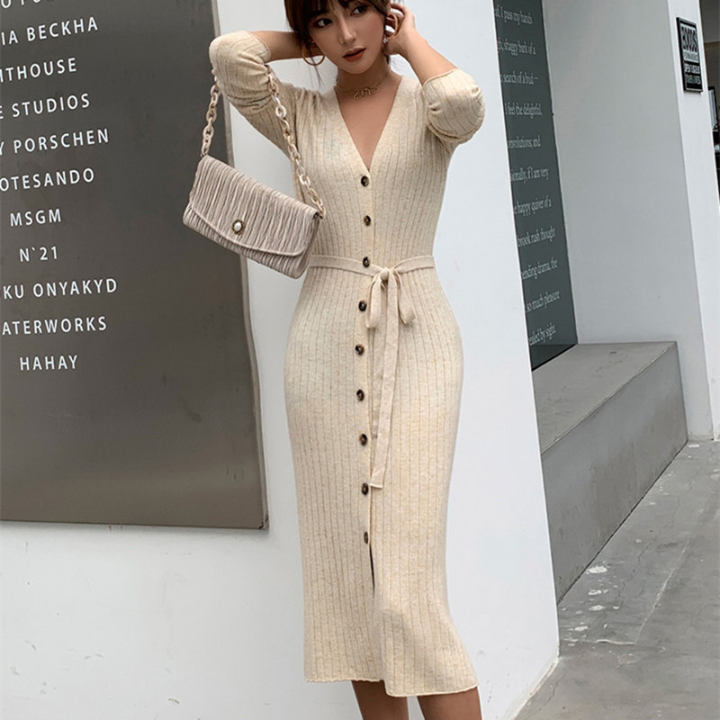 Smpevrg Femela Cardigan Long Style Coat Women Sweater V-neck Long Sleeve Waist Cardigans Women Coats Slim Fit Fashion Jumper New