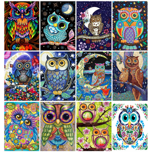 Huacan Diamond Painting Set Owl Full Drill Mosaic Cartoon Animal Diamond Art Embroidery Living Room Wall Decoration
