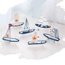 Vintage estilo mediterráneo náutico marino de madera barco de vela artesanías de madera creativo Mini ornamento Decoración Para estante de escritorio