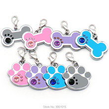 100pcs Dog Tag Engraved Pet Dog Collar Accessories Personalized Cat Puppy ID Tag Paw Name Tags Pendant Anti-lost Pet supplies