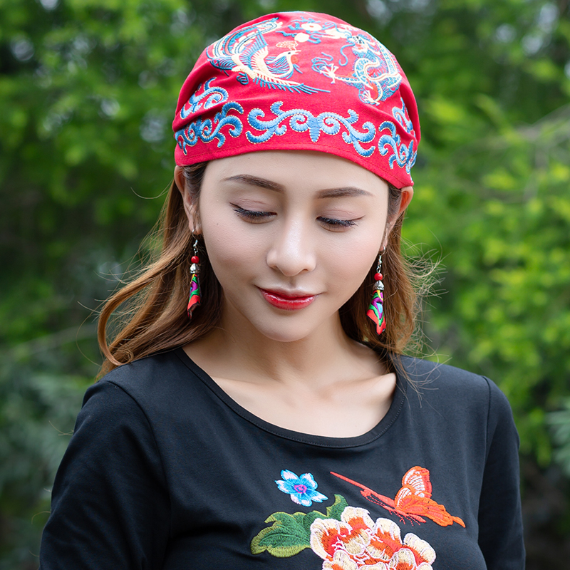 Mexican Style Embroidery Ethnic Vintage Black Blue Red Rose Beading Bandanas Women Winter Original Hippie Hat Skullies