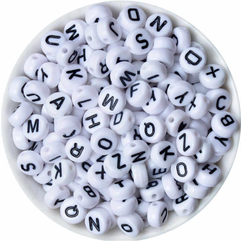 X lettre unique plat blanc acrylique lettres Alphabet perles pour la fabrication de bijoux Bracelet collier bricolage enfant