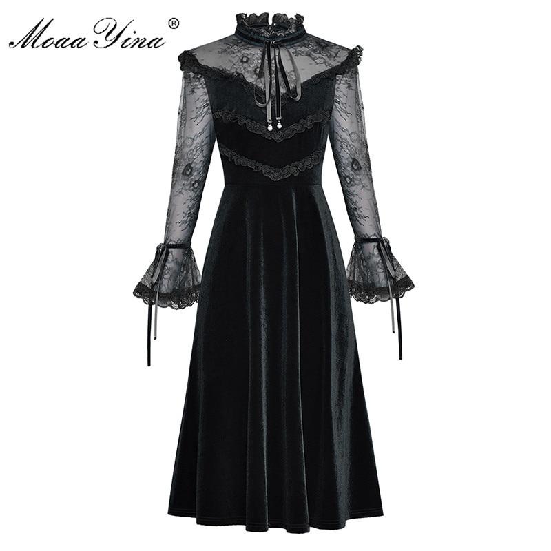 Image 3 - MoaaYina Fashion Designer Runway dress Spring Summer Womens  Dress Lace Long sleeve Patchwork Velvet DressesDresses