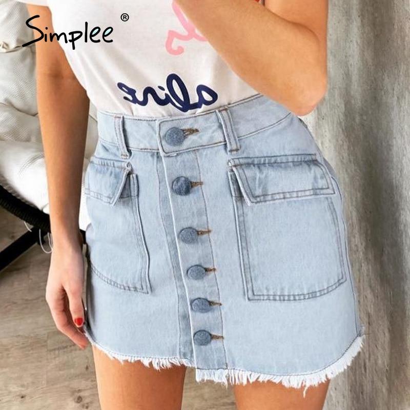 Simplee Tassel A-line Jeans Skirt Women High Waist Chic Button Pockets Female Denim Skirt Streetwear Ladies Party Mini Skirt