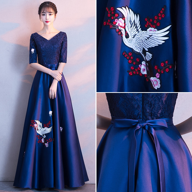 2020 Promotion Vestido De Festa Banquet Evening Dress 2020 New Noble Long Thin Temperament Chorus Performance Host Skirt Woman