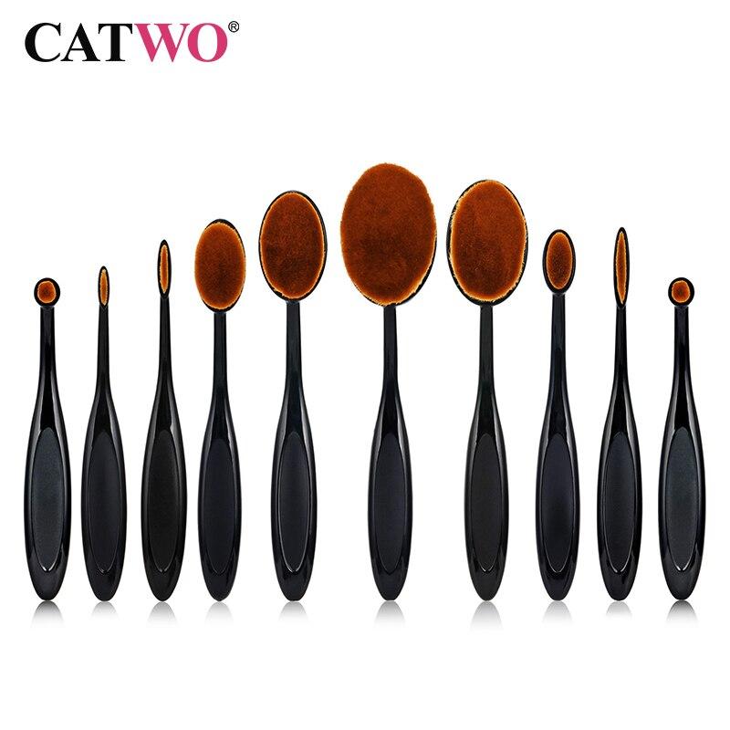 CATWO 10 stücke Zahnbürste Typ Make-Up Pinsel Set Weiche Oval Kosmetische Make-Up Pinsel Blush Face Powder Foundation Pinsel Make-Up werkzeug