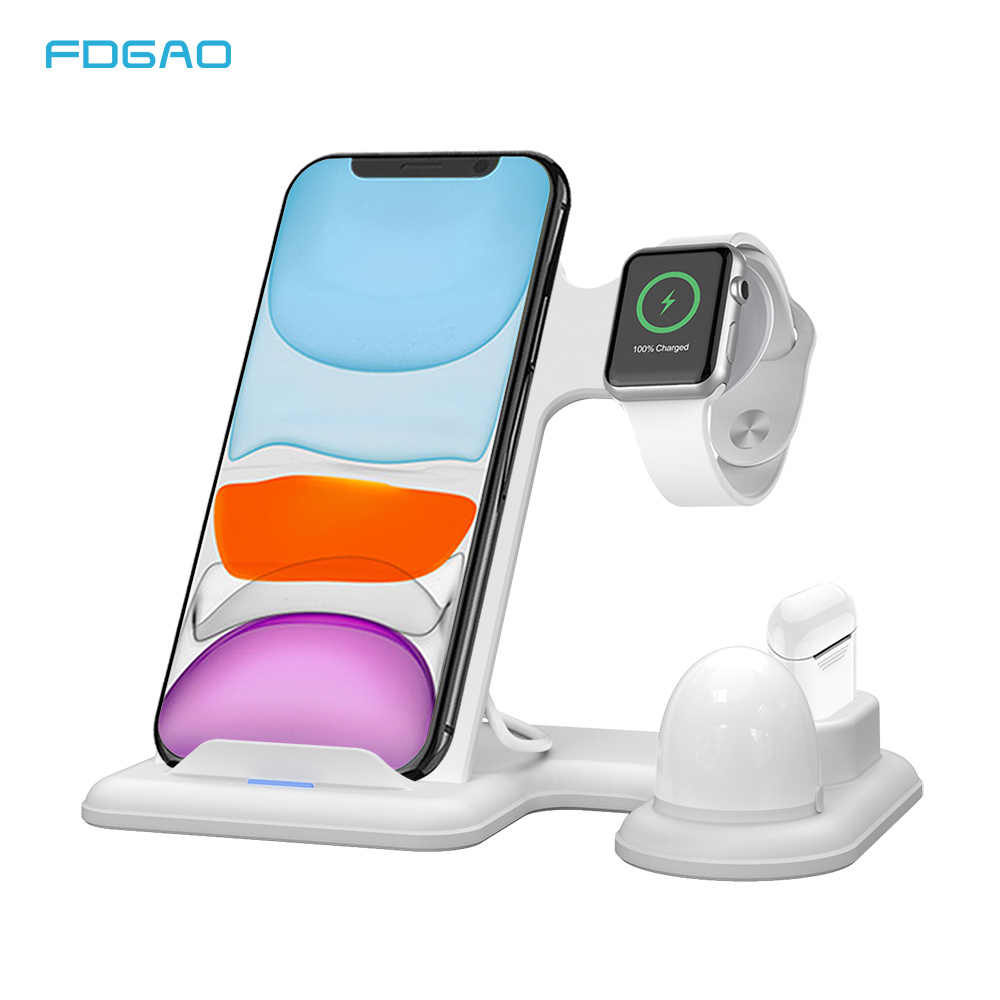 FDGAO אלחוטי מטען Stand 4 ב 1 צ 'י מהיר טעינת Dock תחנה עבור Apple שעון 5 4 3 2 1 airpods iPhone 11 פרו מקס XS XR X 8