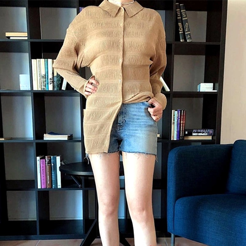 Autumn New Women's blouse light long-sleeved ladies shirt pleated puff sleeve blouses and tops