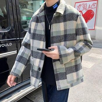 Winter Short Woolen Coat Men's Fashion Casual Tartan Woolen Jacket Men Streetwear High Quality Woolen Coat Male Overcoat S-2XL