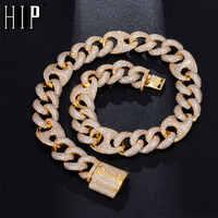 Hip Hop 18MM Bling AAA CZ Zirkonia Iced Out Box Schließe Luxus Cuban Link Kette Halskette Für Männer rapper Schmuck 18 ''-24''