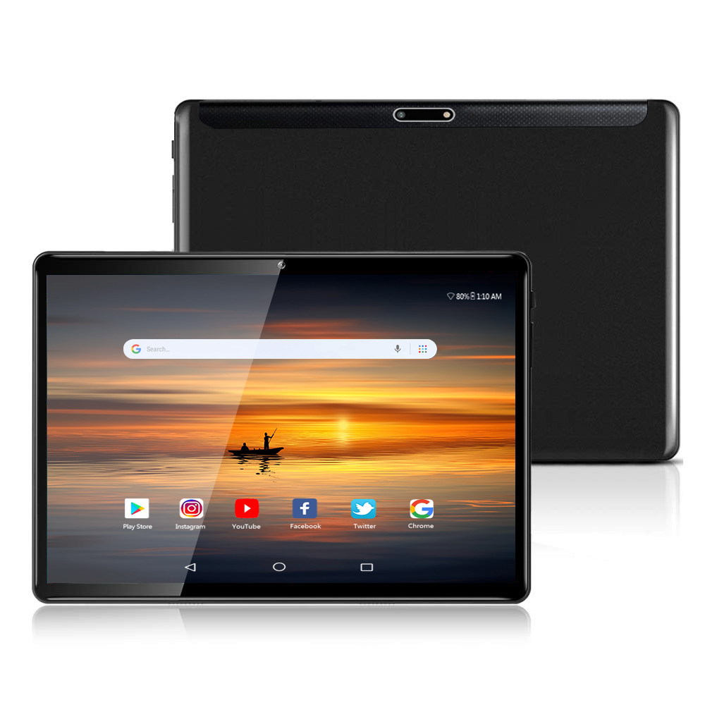 2020 New Android 9.0 Wi-Fi Tablets 4G Phone Call 10.1 Inch Tablets Quad Core 128GB Dual SIM Bluetooth Tablet PC Black