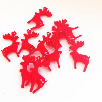 100 sztuk 25x16mm czerwony filc tkaniny łoś bożonarodzeniowy ozdoby ozdoby Patch rzemiosło domu bożonarodzeniowe ozdoby choinkowe ozdoby tanie i dobre opinie mixed color Tak ( 50 sztuk) = 100 Sztuk diy crafts Handmade patch christmas reindeer patches