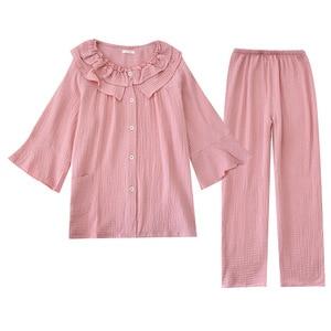 Image 5 - Womens New Casual Round Neck Pajamas Three Quarter 100% Cotton Solid Crepe Pajama Set Woman Sleepwear Loungewear Home Clothes
