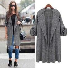 Elegante abrigo de otoño con cinturón, Chaqueta de punto de mezcla de lana para mujer, otoño e invierno, abrigo informal gris de manga larga a la moda para mujer, novedad