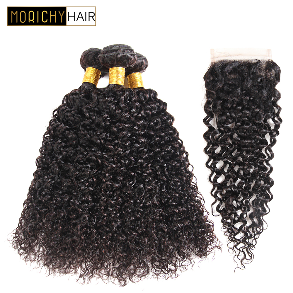 Morichy Water Wave Human Hair Bundles With Closure Brazilian Non-Remy Curly Huamn Hair Bundles And 4x4 Lace Closure  For A Wig